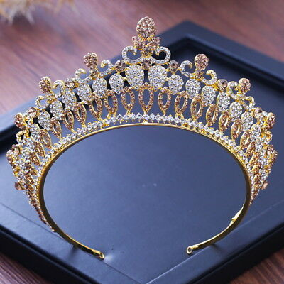 7cm High Luxury Gold White Crystal Wedding Bridal Party Pageant Prom Tiara Crown