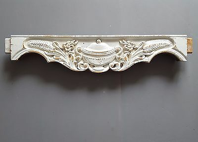 ANTIQUE CARVED WOOD PANEL PEDIMENT salvaged furniture SHABBY WHITE Tureen Wheat