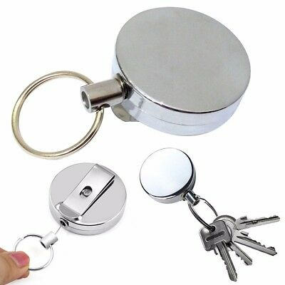 Stainless Silver Retractable Key Chain Recoil Keyring Heavy Duty Steel Pack of 2