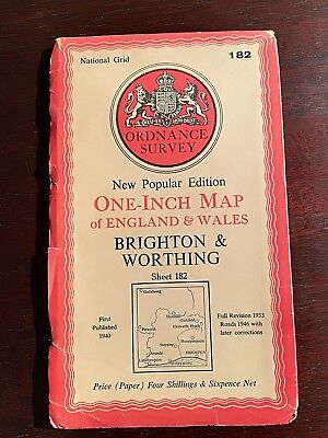 Old Map 1946 Ordnance Survey One Inch Edition Brighton & Worthing Sheet 182
