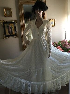 Vtg Gunne Sax  Boho Wedding Gown All Lace Beigie Color Size Maybe (S/m)