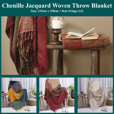Cotton Chenille Jacquard Throw Blanket Reversible Patch Block Woven Coverlet Rug