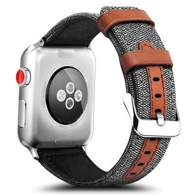 For Apple Watch Series 3/2/1 Hybrid Canvas Leather Wrist iWatch Band Strap 42mm