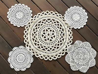 Lot of 5 Different Vintage Crochet ROUND DOILIES, Upcycle to Dreamcatcher!
