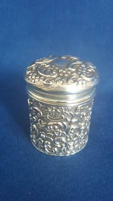 Edwardian H/M Sterling Silver Ornate Repoussé Round Lidded Box B'ham 1904 61g