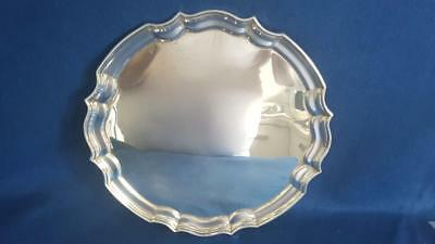 Sal2: Excellent H/M B'ham 1951 Sterling Silver Georgian Style Salver Tray 428g