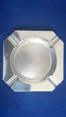 First-rate Art Deco 1930s Australian Sterling Silver Engine Turned Ashtray 52g