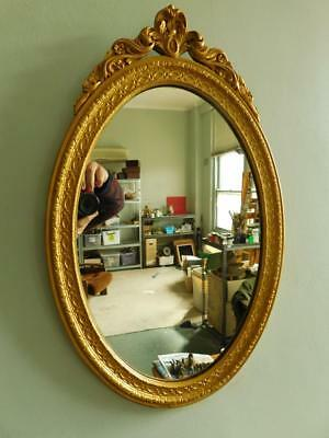 Quality Vintage Gilt Wood Ornate Oval wall Mirror French Empire Style 1900s