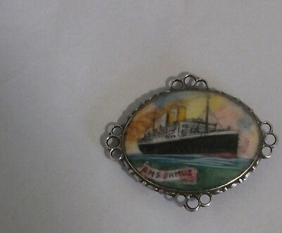 EARLY HAND PAINTED ENAMEL BROACH SET IN SILVER souvenir OF R.M.S ORMUZ