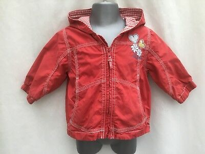 Next Baby Girls Red Cotton Hooded Coat Spring / Summer Jacket - Age 6-9 Months