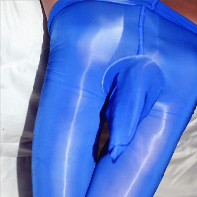 Men's Super Shiny High Glossy Pantyhose Nylon Stocking Tights Penis Sheath Pouch