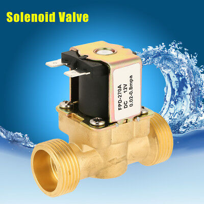 """DC12V G3/4"""" Normally Closed Brass Electric Solenoid Water Valve Fast Install cf"""