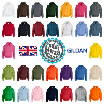 Gildan Heavy Blend Plain Hooded Sweatshirt Hoodie Sweat Hoody Hi Viz Jumper