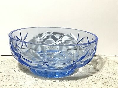Pretty Vintage Blue Pressed Glass Bowl with Star Pattern