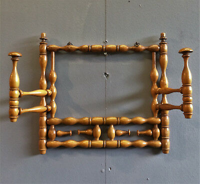 Rare Victorian Boxwood Turned Hall Rack, Hat & Coat Hooks, Treen Antique.
