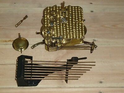 VINTAGE GERMAN GUFA dual chime clock mechanism with pendulum & gong rods