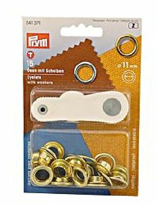 PRYM Eyelets + rings brass plain 11 mm 3B x15 pcs