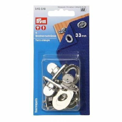 PRYM Turning fasteners clasps brass nickel plated x4 pcs