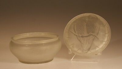 Vintage Deco Consolidated Glass Crystal Frosted Lovebirds Powder Jar c.1935