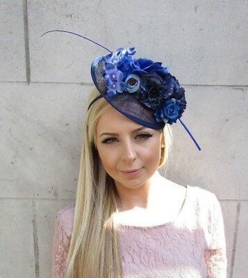 Navy Royal Light Blue Feather Flower Sinamay Disc Saucer Hat Fascinator 5680