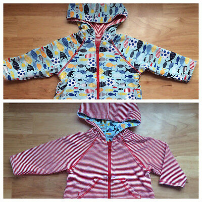 Sz 12 Mo Reversible ZUTANO 100% Cotton Hooded Jacket VGC Unisex Baby Boy Girl