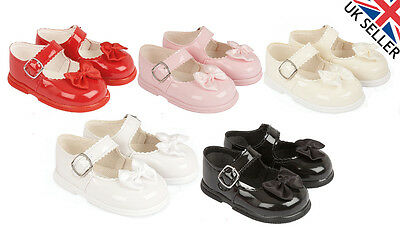 New Baby Girl 'Baypods' Bow Pram Dress Hard Sole Buckle Wedding Party Shoes H505