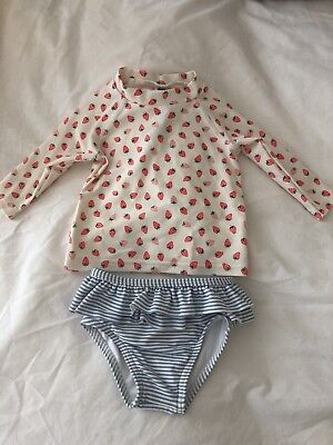 Baby Boden Girls Swimming Rash Vest And Pants/ Swimming Costume Size 3-6 Months