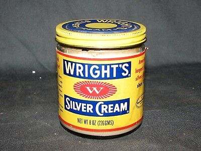 Vintage Wrights Silver Cream in Glass Jar 8 Oz. Size 3/4 Full