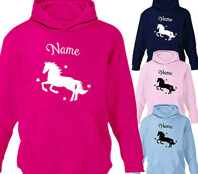 Childrens Personalised Horse Riding Hoodie Girls Boys Kids Sweater All Ages