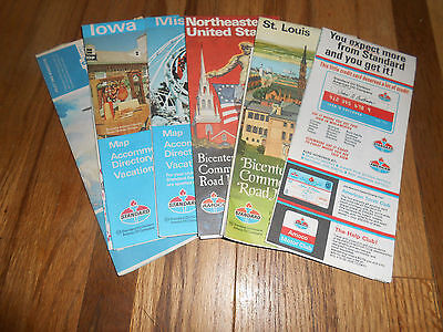 Lot of 6 Vintage 1970s Maps Standard Amoco Iowa Wisconsin Missouri