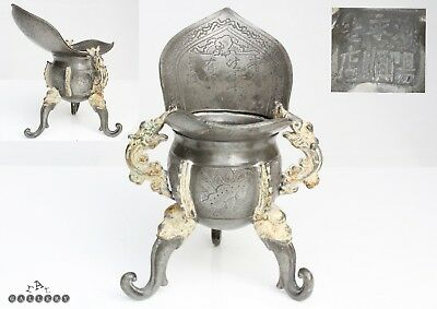 Antique Chinese Pewter Jue Wine Vessel 19th Century - 6 Character Mark