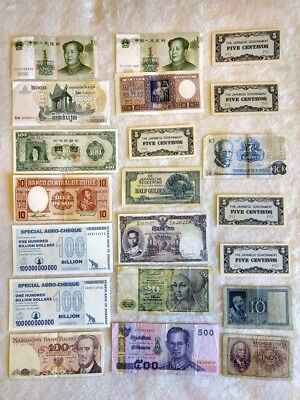 Junk Drawer Foreign Banknotes Money From Around The World (21) Notes Lot #933