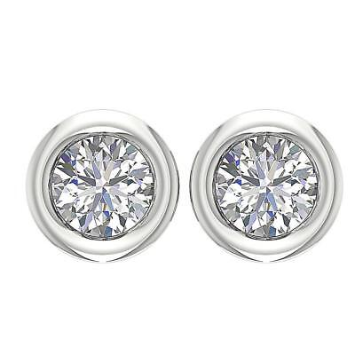 Mother's Day Solitaire Studs Earrings 0.85Ct SI1 H Round Diamond 14K Solid Gold