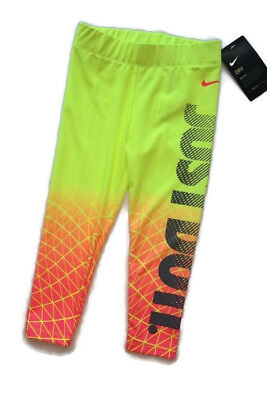 Nike Sports Running Leggings Neon Volt Yellow Orange Athletic Girls 4T [s0203]