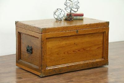 Country Pine Antique Carpenter Tool Chest or Trunk, Coffee Table #28599