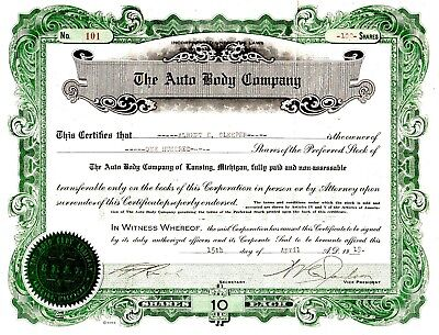 The Auto Body Company of Lansing, MI 1919 Stock Certificate - issued to Governor