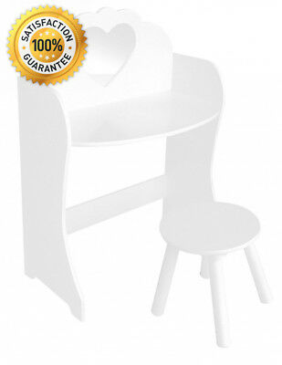 Liberty House Toys Wooden Dressing Table & Stool Set, Wood, White
