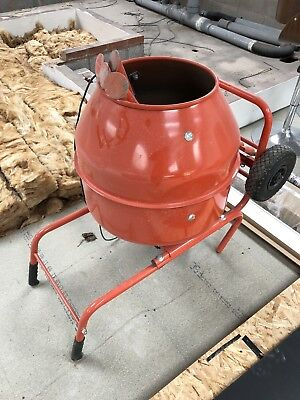 Electric cement concrete mixer, used once. 240v complete with stand.