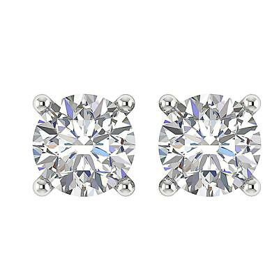 Round Cut Diamond SI1 H 0.75TCW Mother's Day Solitaire Stud Earrings White Gold