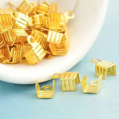 20g Approx 220pcs Iron Gold/Silver Crimp Beads Cord Ends Tips Findings Lot