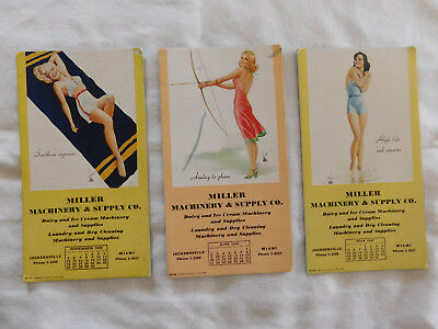 3 Vintage 1939  & 1940 Girly Calendar Ink Blotters Very Nice Condition