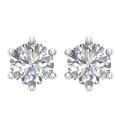 6 Prong Solitaire Studs Earrings 0.40Ct Round Cut Diamond 14Kt White Gold 3.70MM