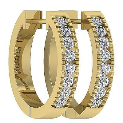 Round Diamond Hoops Earrings SI1 H 0.50Ct Channel Set 14Kt Yellow Gold 0.60 Inch