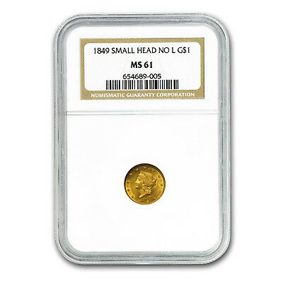 1849 $1 Liberty Gold Small Head Open Wreath No L MS-61 NGC - SKU#4267