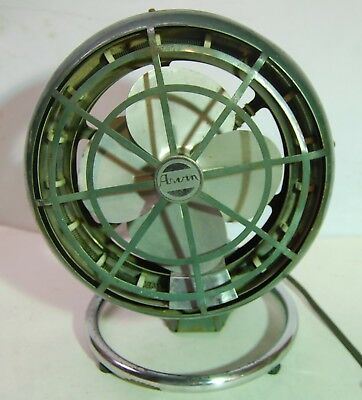 Vintage Machine Age MC Modern Art Deco Arvin Space Heater Electric Table Fan
