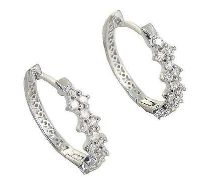 Hoops Earrings 0.45Ct Round Cut Diamond 0.60Inch Appraisal 14Kt Solid White Gold