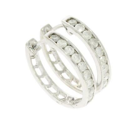 Hoop Earrings 1.01Ct Natural Diamond Channel Set 14Kt Solid White Gold 0.80Inch