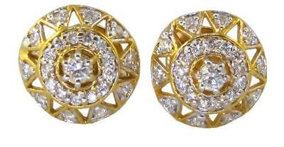 Halo Studs Earrings 0.80 Ct Real Diamond 11.80MM 14Kt Solid Gold Pave Setting