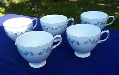5 Royal Vale bone china cups (only) in 8333 pattern blue and grey leaves VGC