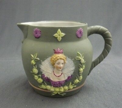 Little Antique Schafer & Vater Queen Elizabeth I Polychrome Jug Pitcher German